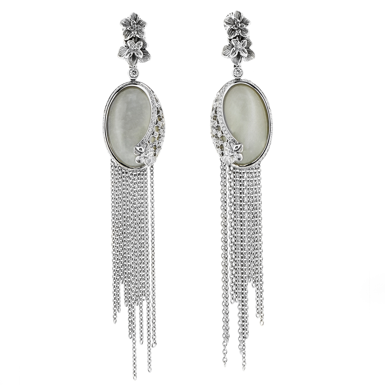 Sierpes Maxi 18K White Gold Diamond & Moonstone Earrings