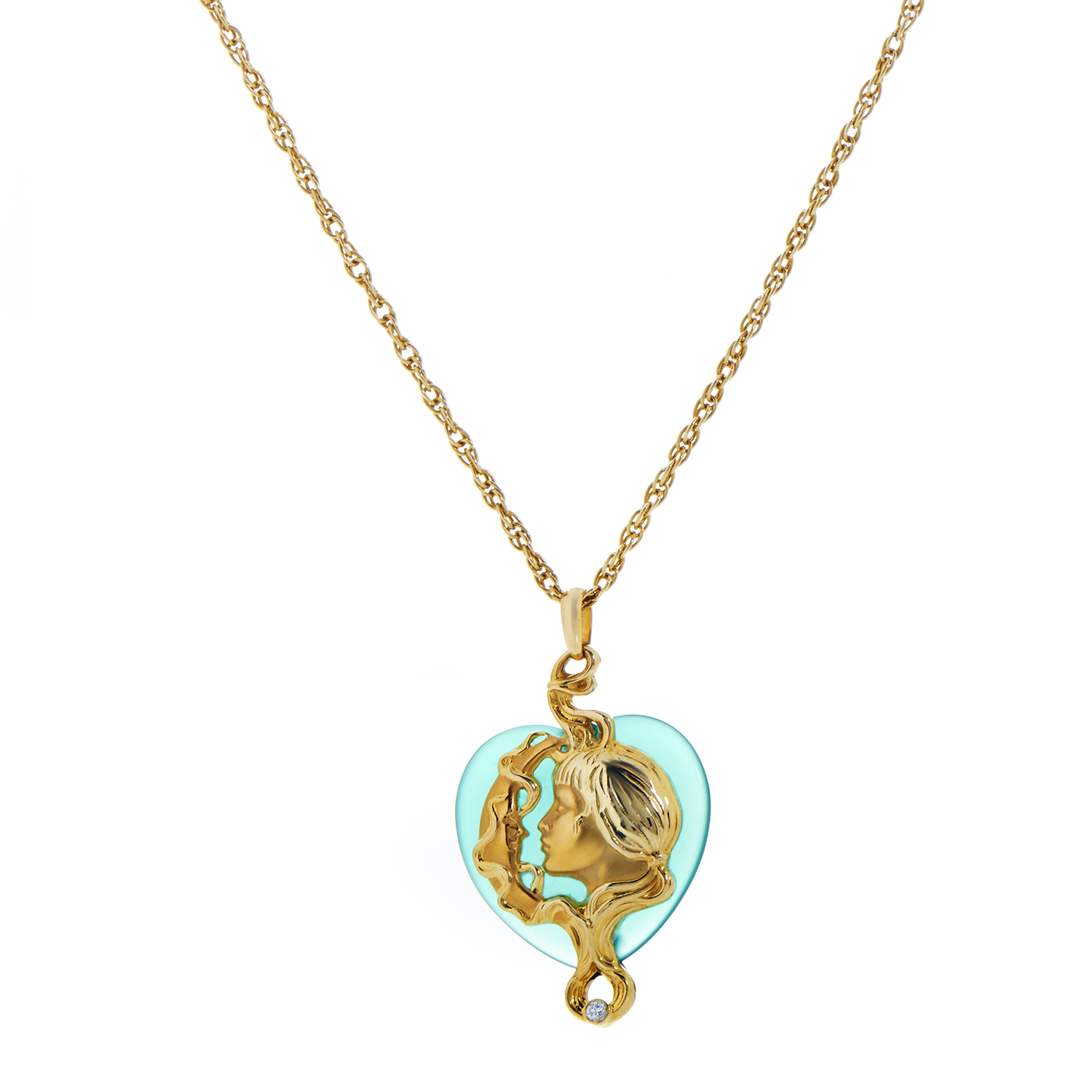 Carrera y Carrera Women's 18K Yellow Gold Green Agate Heart Pendant Necklace