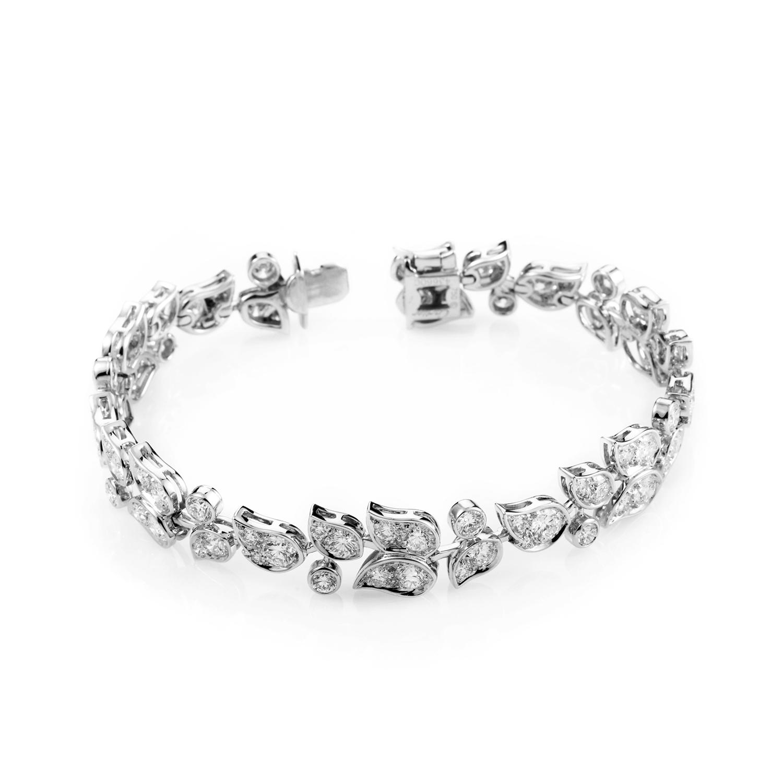 Cartier Women's 18K White Gold Floral Diamond Bracelet