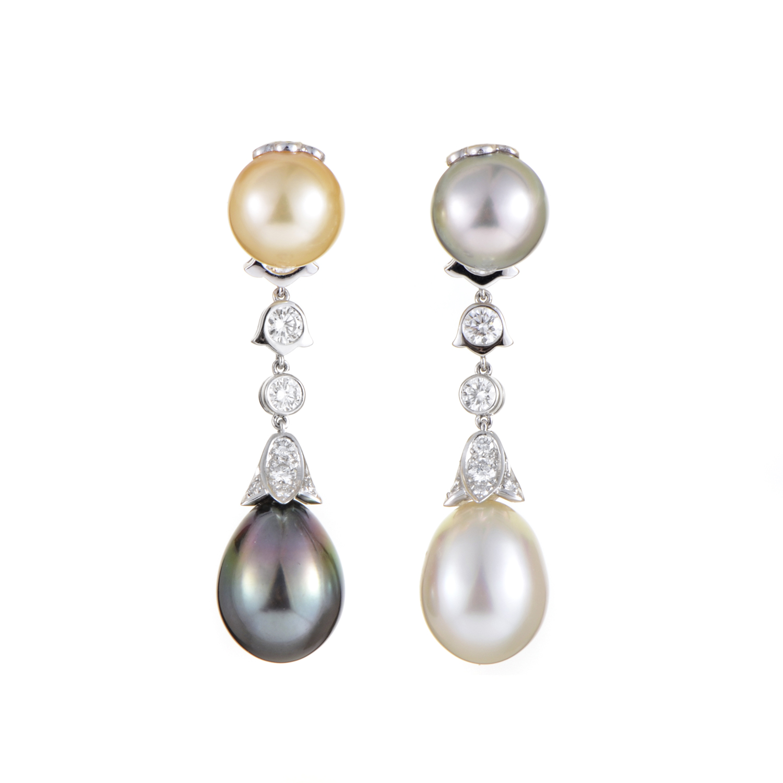 Cartier Women's Platinum Diamond & Multi-Color Pearl Clip-On Earrings