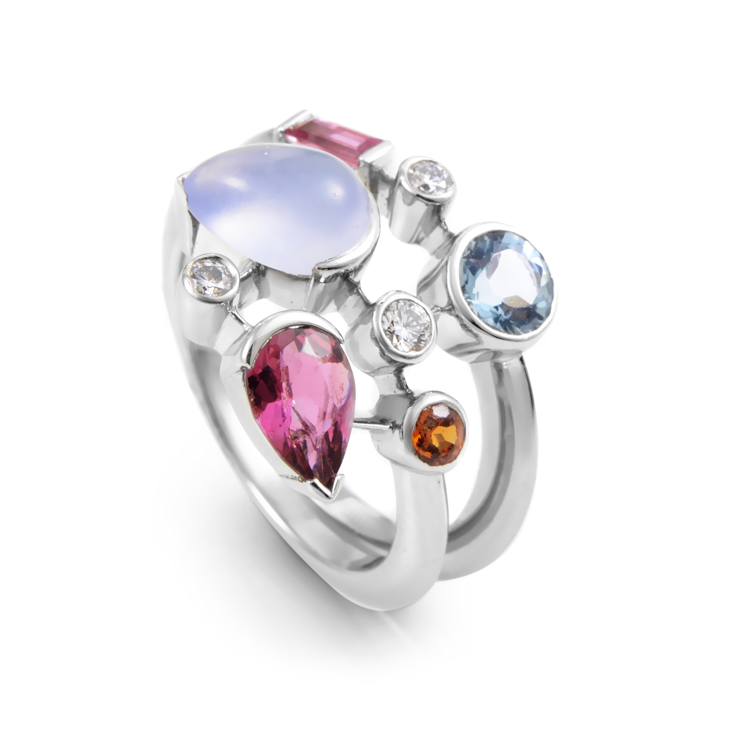 Cartier Meli Melo Women's Platinum Multi-Gemstone Ring