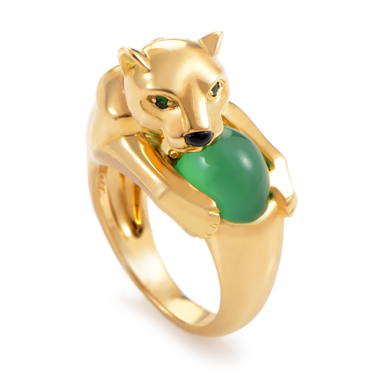 Cartier Panthere 18K Yellow Gold Onyx & Emerald Ring