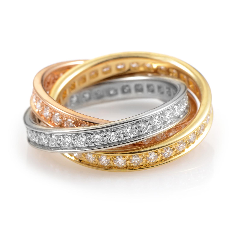 Cartier Trinity 18K Tri-Gold Diamond Band Ring