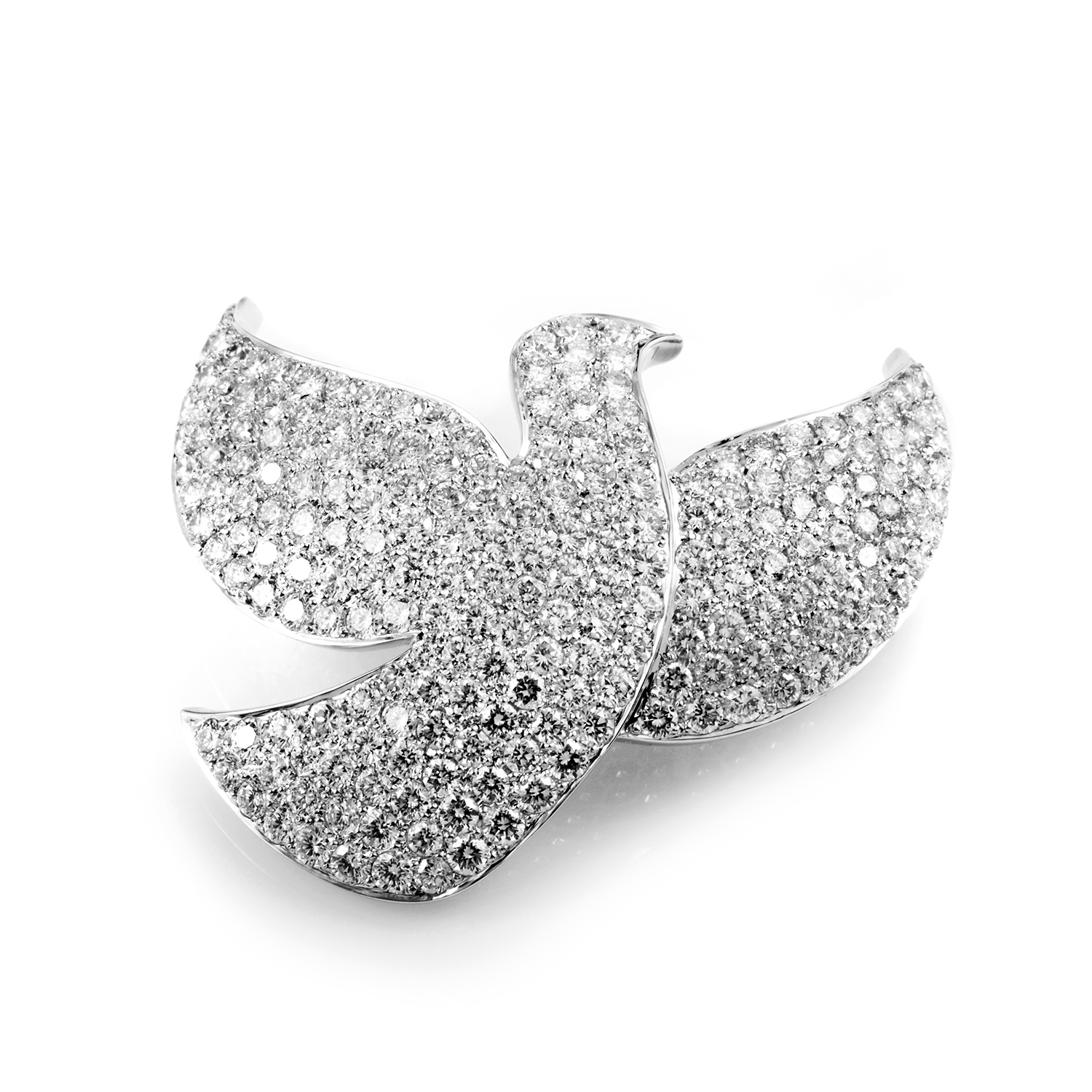Cartier Dove of Peace 18K White Gold Diamond Pave Brooch