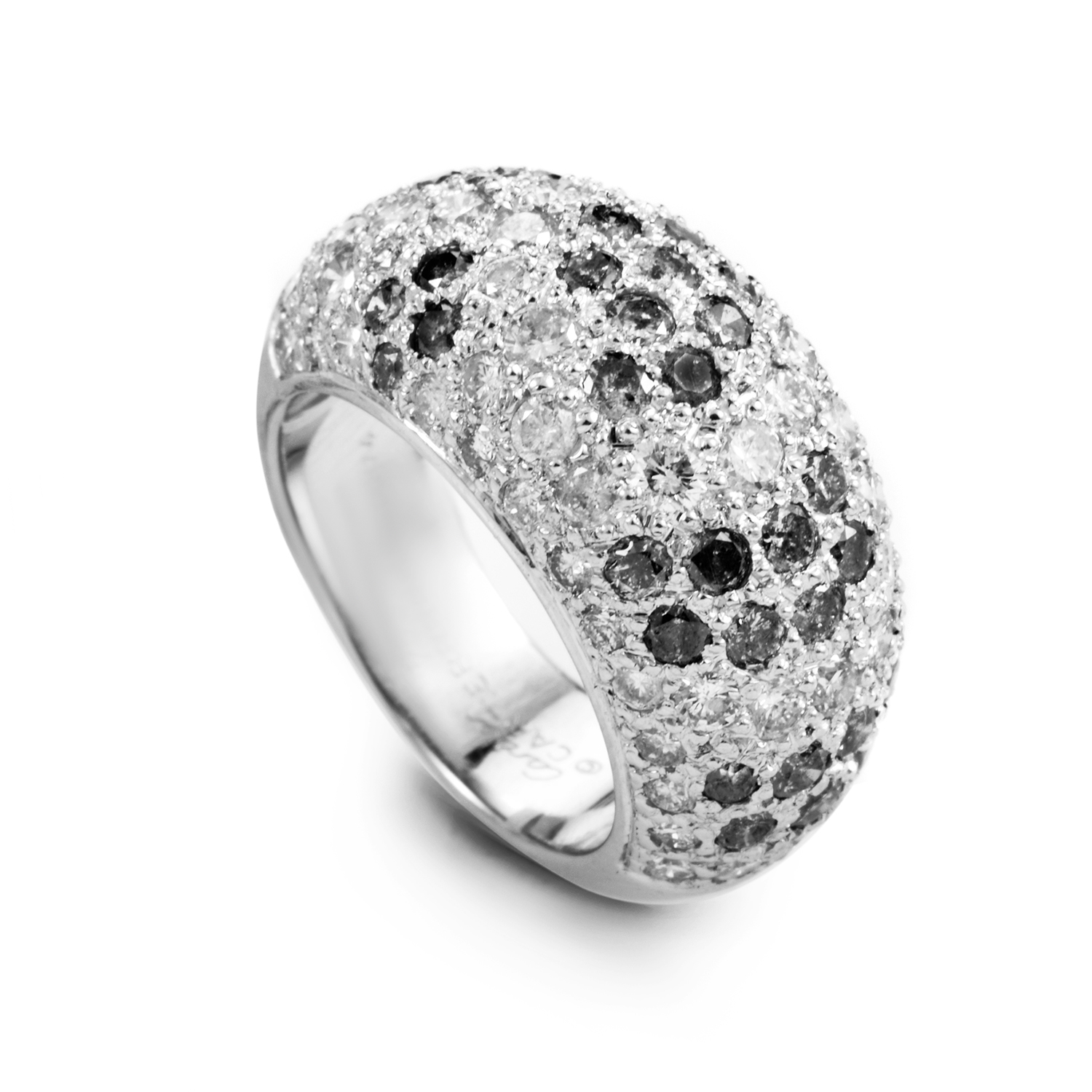 Cartier Le Bombe Womens 18K White Gold Black and White Diamond Pave Ring