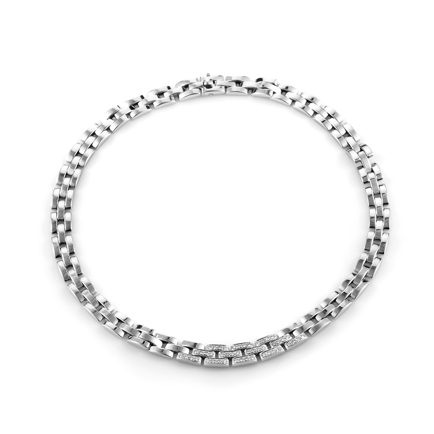 Cartier Maillon Panthere 18K White Gold Diamond Necklace