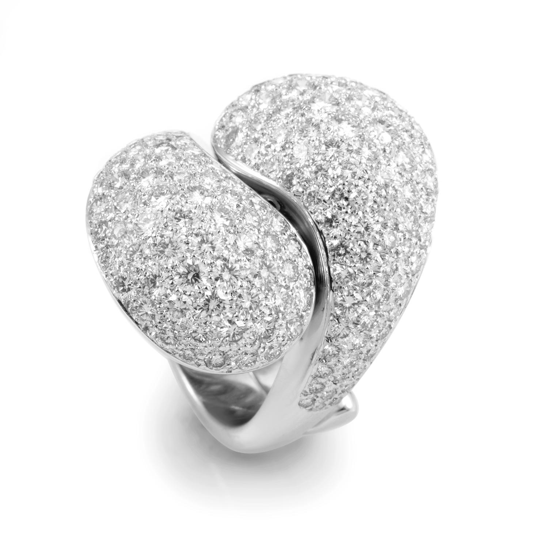 Cartier Le Yin et Le Yang 18K White Gold Diamond Pave Ring
