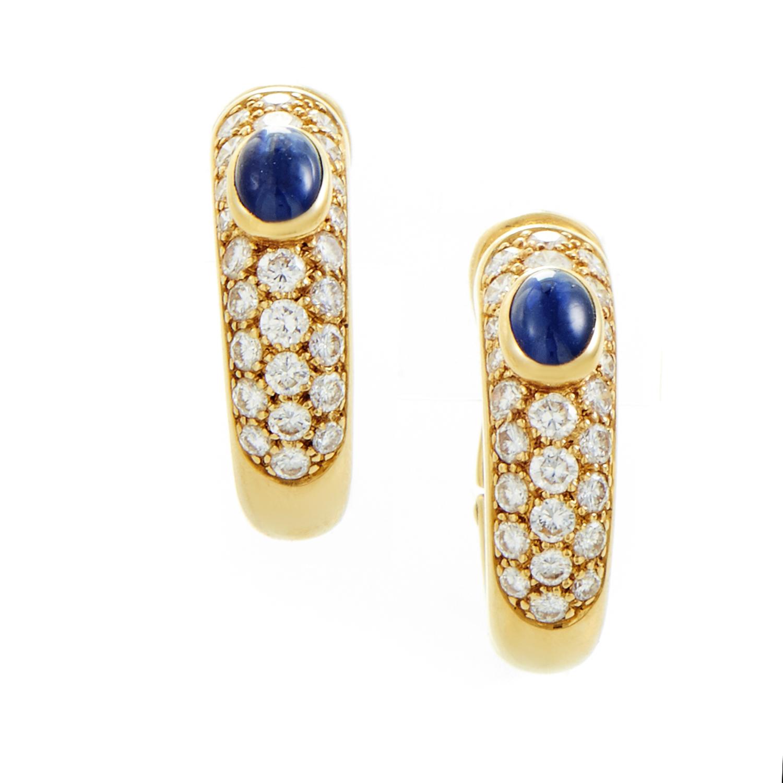 Cartier Women's 18K Yellow Gold Diamond Pave & Sapphire Petite Hoop Earrings