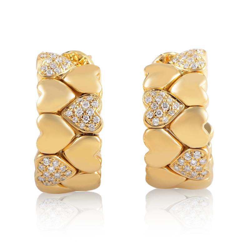 Cartier 18K Yellow Gold Diamond Heart Huggie Earrings