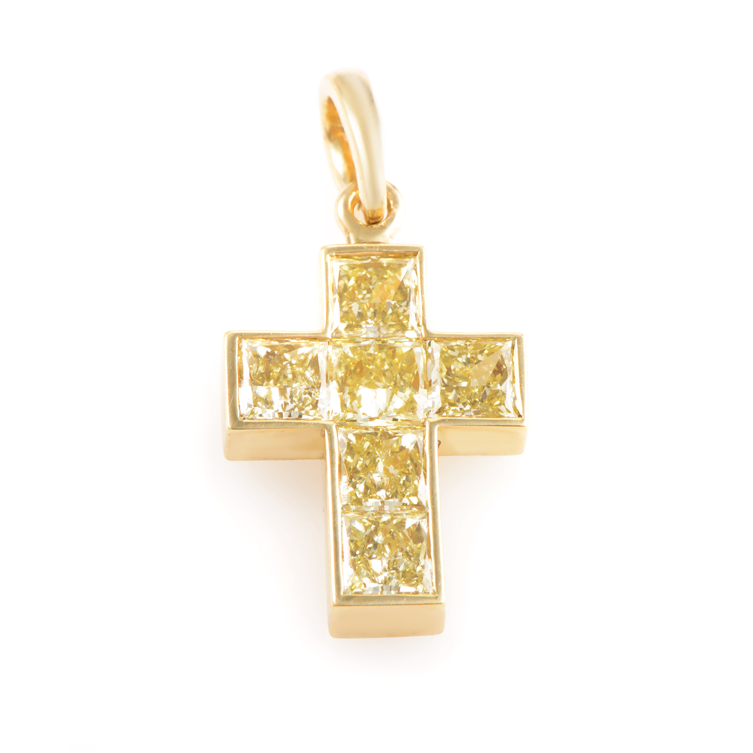 Cartier Womens 18K Yellow Gold Fancy Yellow Diamond Cross Pendant