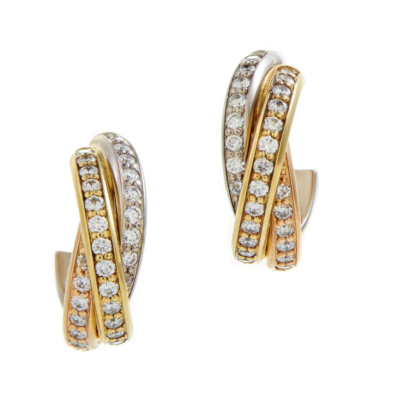 Cartier Trinity Women's 18K Tri-Gold Diamond Pave Earrings