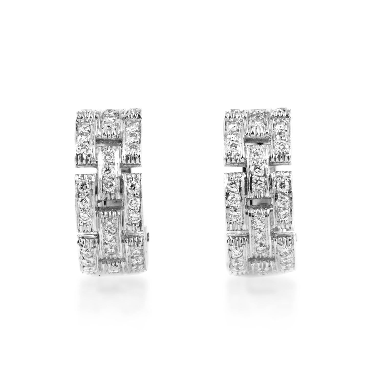 Cartier Maillon Panthere Women's 18K White Gold Diamond Earrings AK1B3143