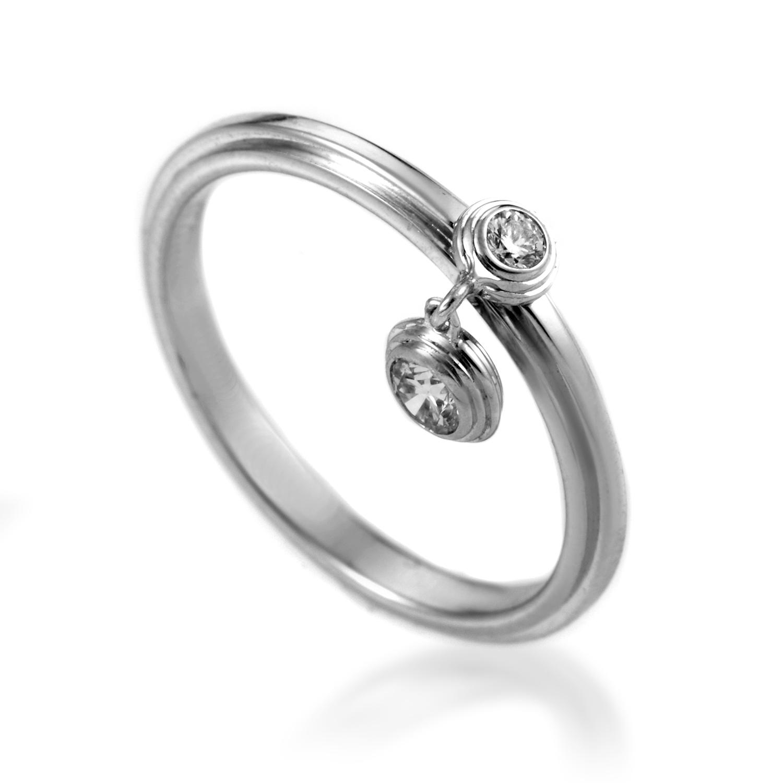 Cartier Women's Diamants Légers 18K White Gold Diamond Charm Ring