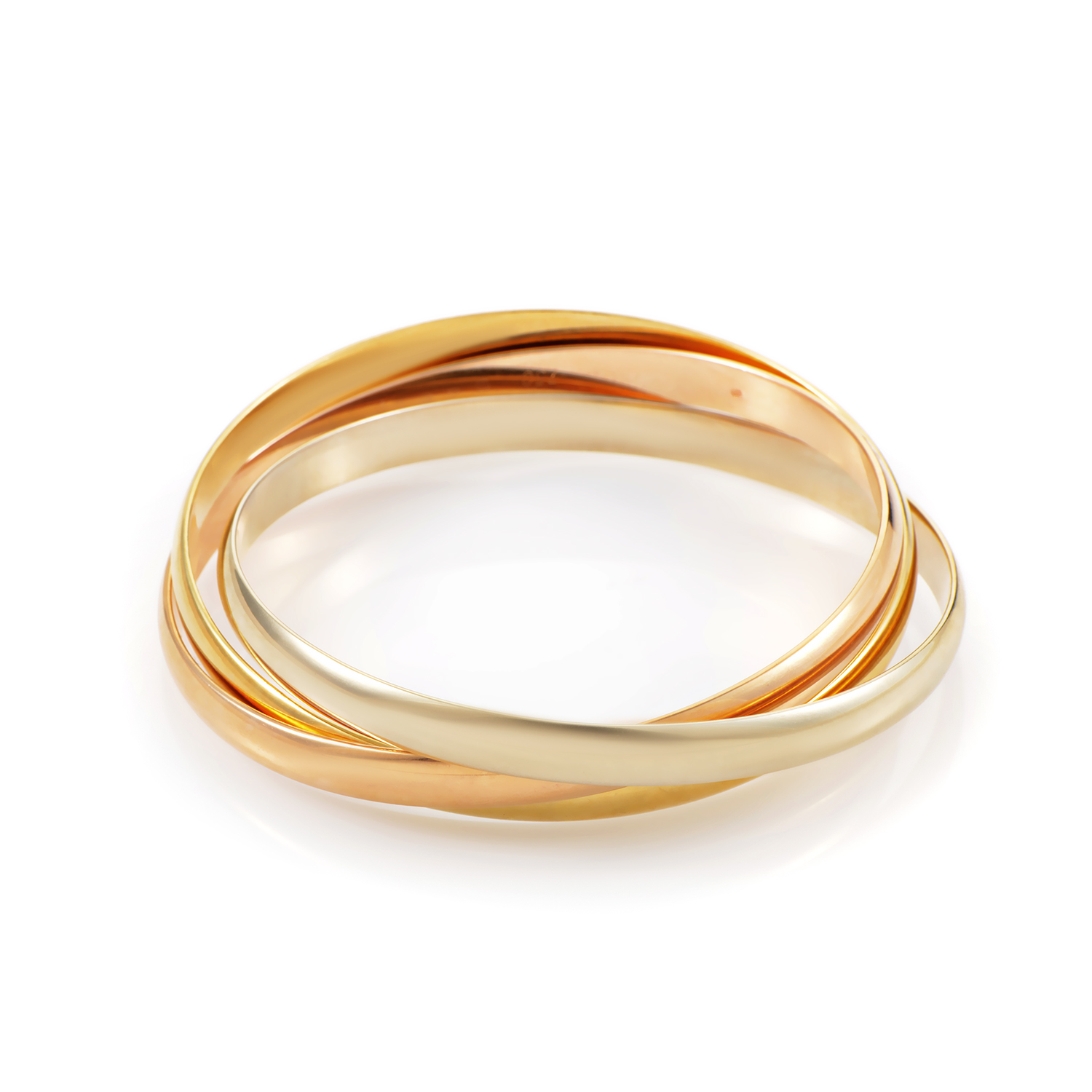 Cartier Trinity Women's 18K Tri-Gold Rolling Bangle Bracelet