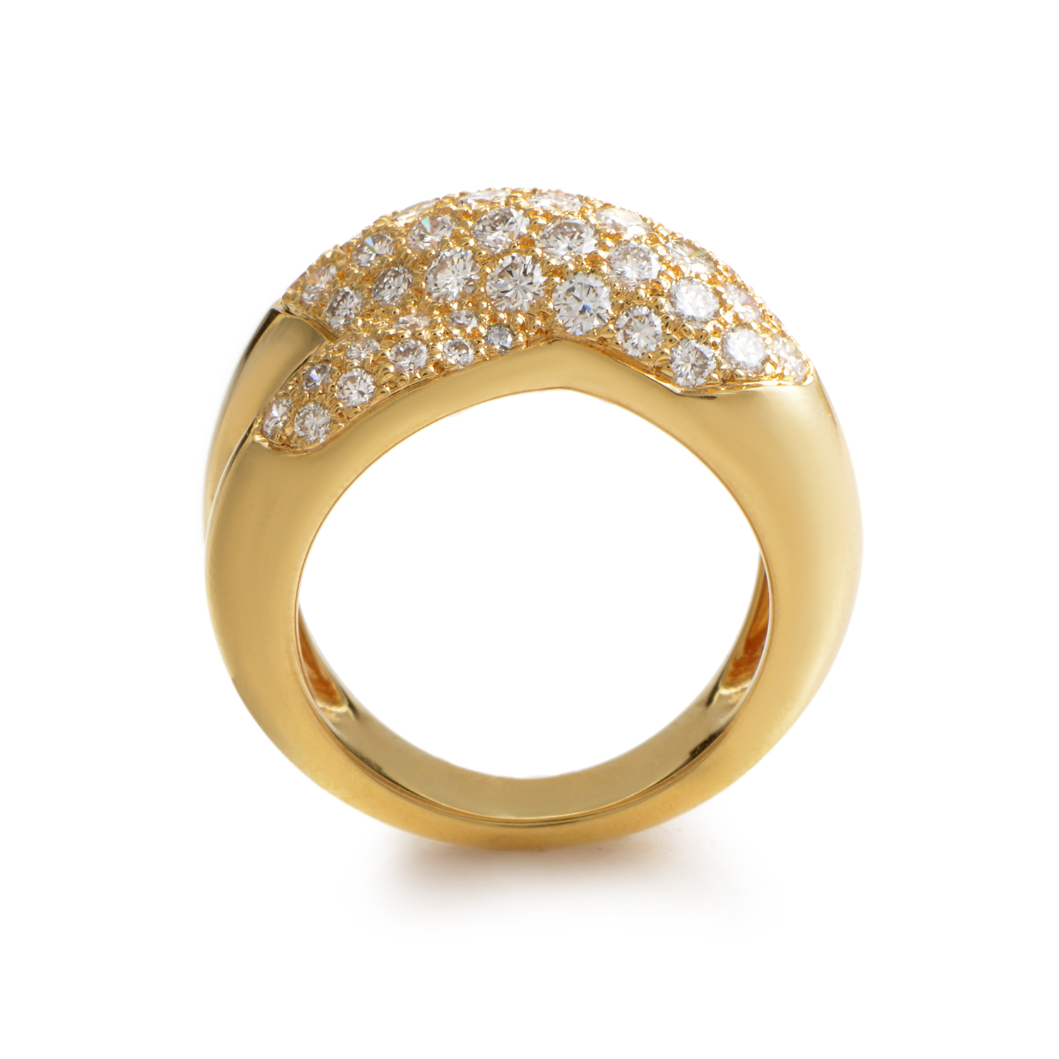 cartier women 39 s 18k yellow gold partial diamond pave ring. Black Bedroom Furniture Sets. Home Design Ideas