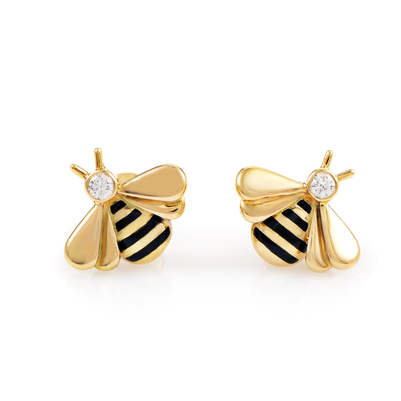 Cartier Women's 18K Yellow Gold Diamond & Enamel Bee Stud Earrings