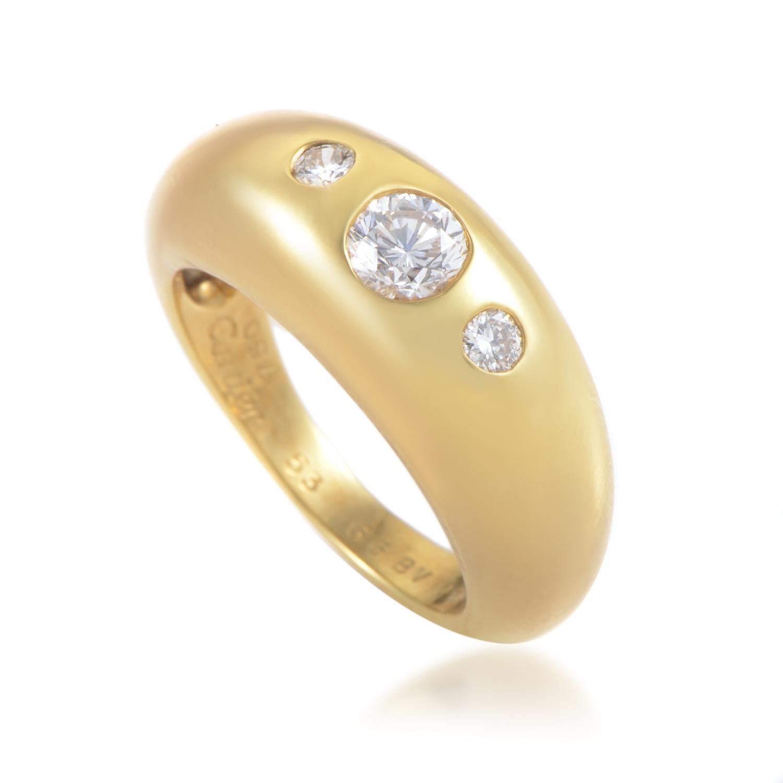 Cartier Women's 18K Yellow Gold 3 Diamond Band Ring AK1B3922
