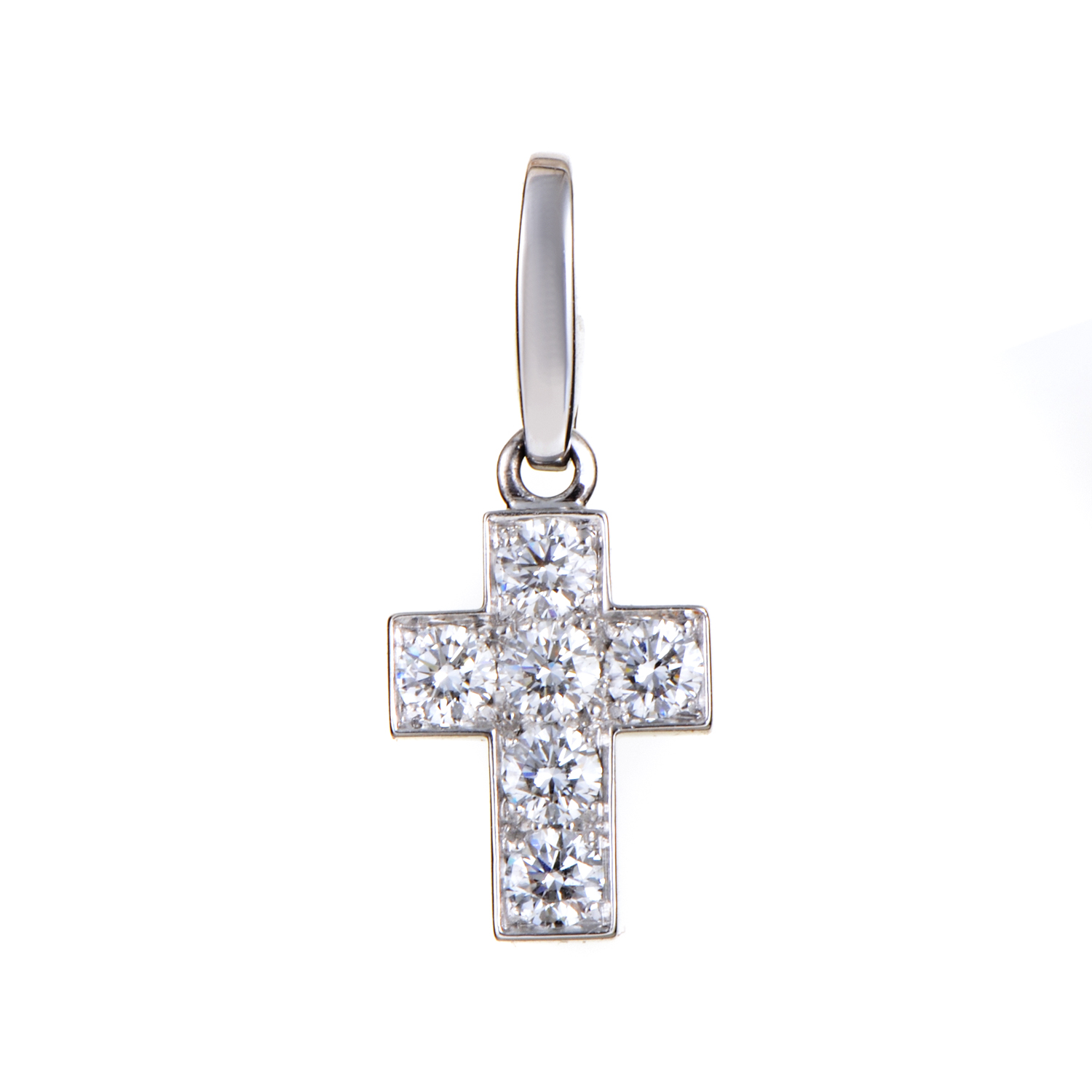 Cartier Women's 18K White Gold Diamond Cross Pendant AK1B3932