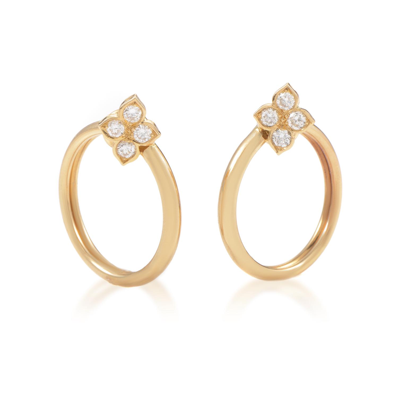 Cartier Women's 18K Yellow Gold Diamond Flower Clip-on Hoop Earrings