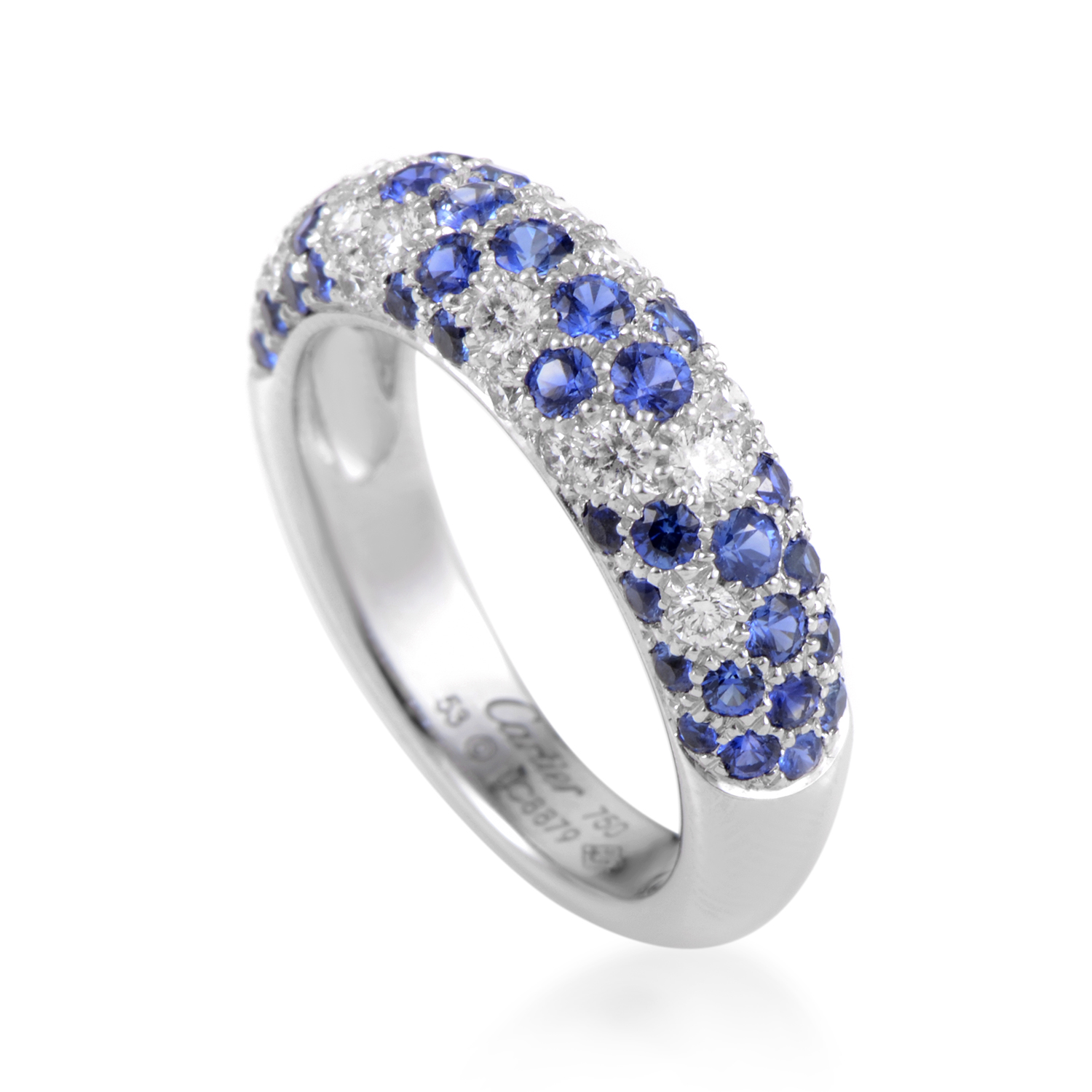 Cartier Women's 18K White Gold Diamond & Sapphire Partial Pave Band Ring