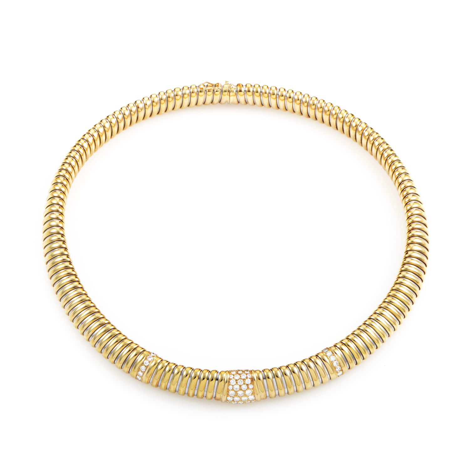 Cartier Women's 18K Yellow Gold & Stainless Steel Diamond Collar Necklace