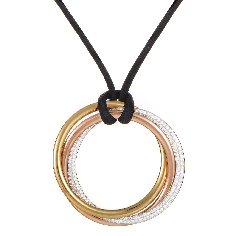 Cartier Trinity Women's 18K Tri-Gold Diamond Pendant & Silk Cord Necklace