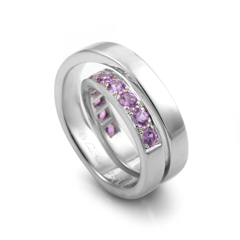 Cartier Paris Nouvelle Vague 18K White Gold Pink Sapphire Ring