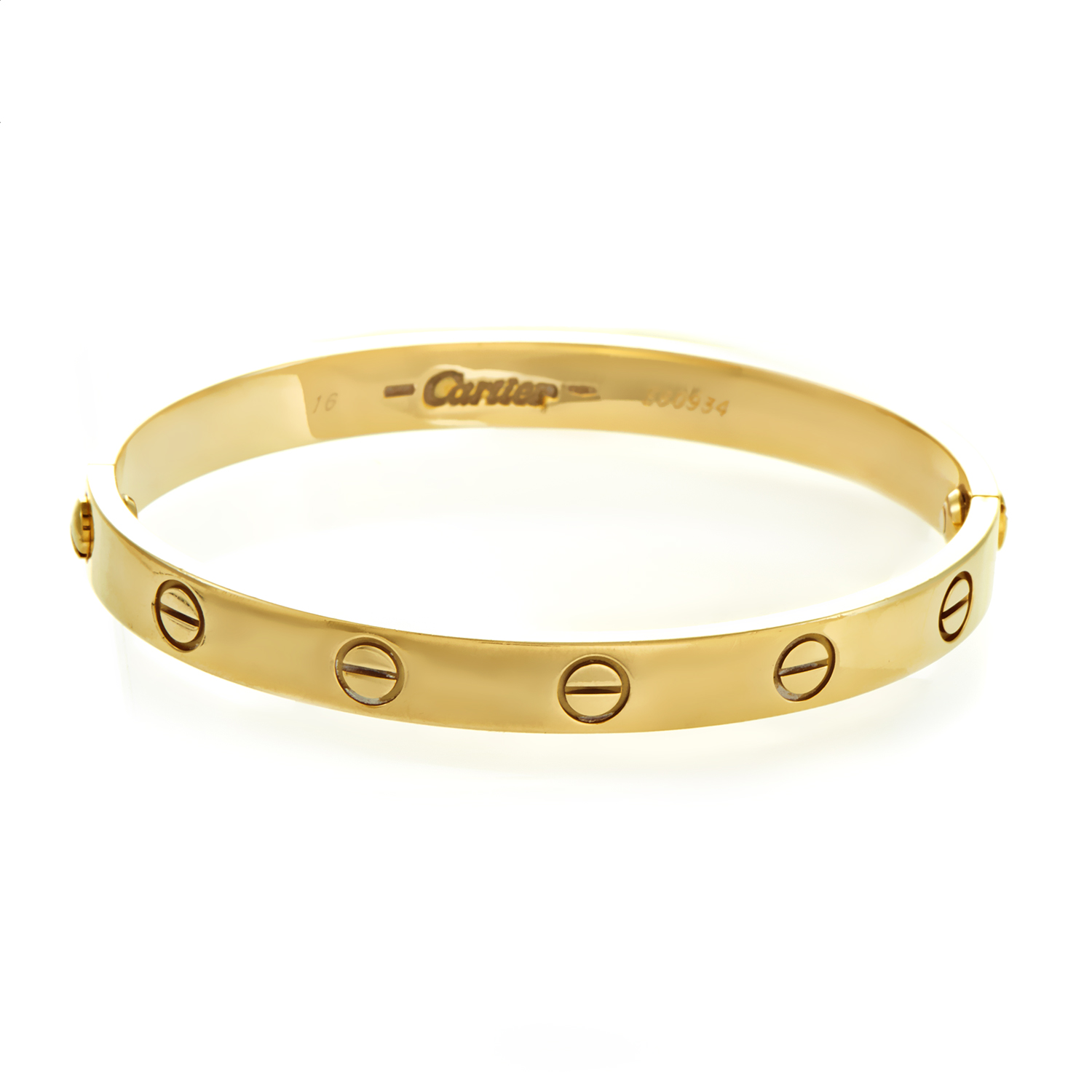Cartier LOVE Women's 18K Yellow Gold Bracelet Size 16