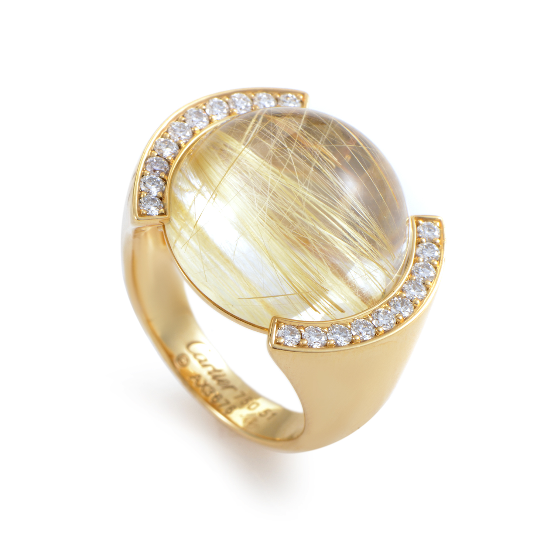 Cartier 18k Yellow Gold Rutilated Quartz Diamond Ring