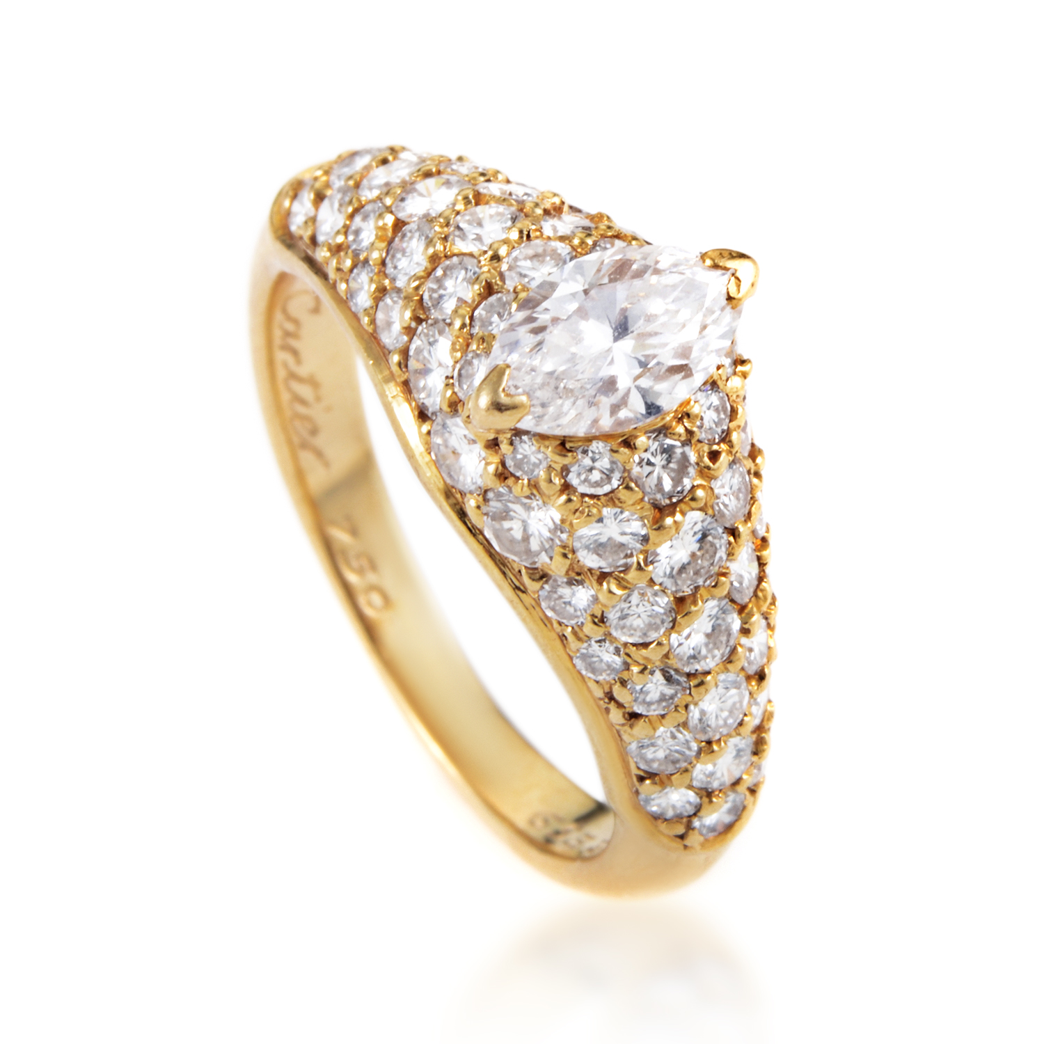 Cartier Womens 18K Yellow Gold .60ct Marquise Diamond Engagement Ring