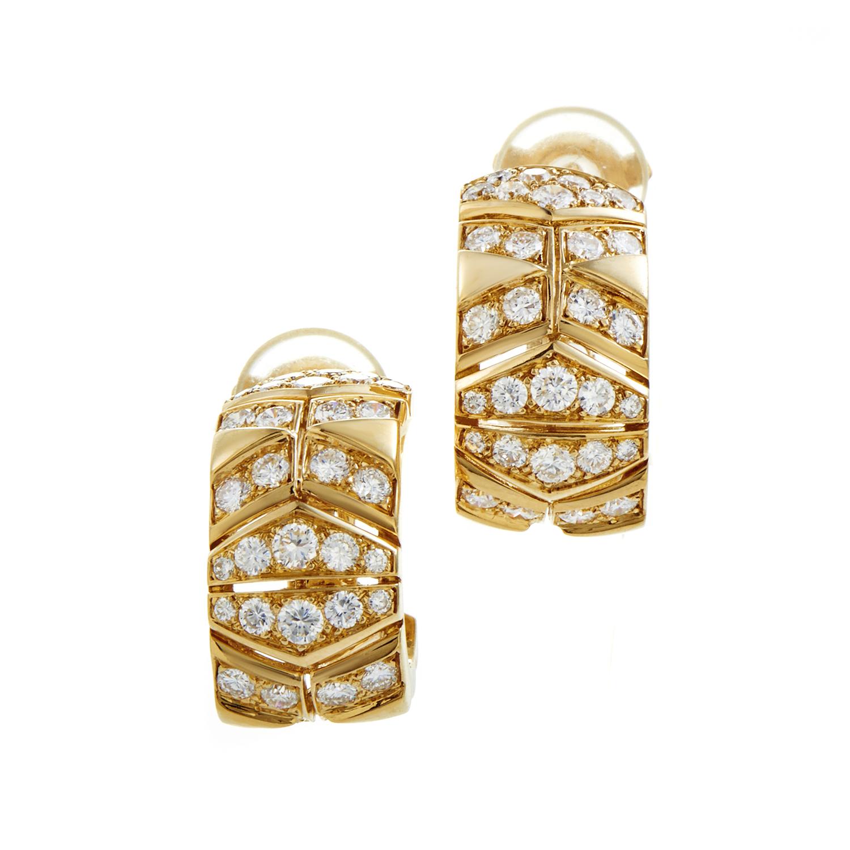 Cartier Women's 18K Yellow Gold Diamond Huggie Earrings