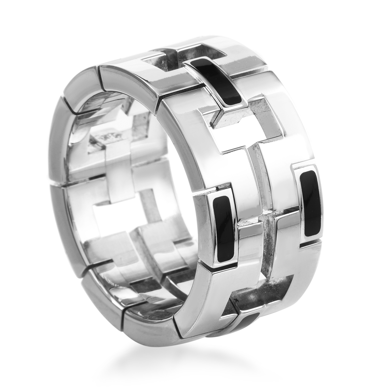 Cartier Le Baiser du Dragon Unisex 18K White Gold Onyx Band Ring