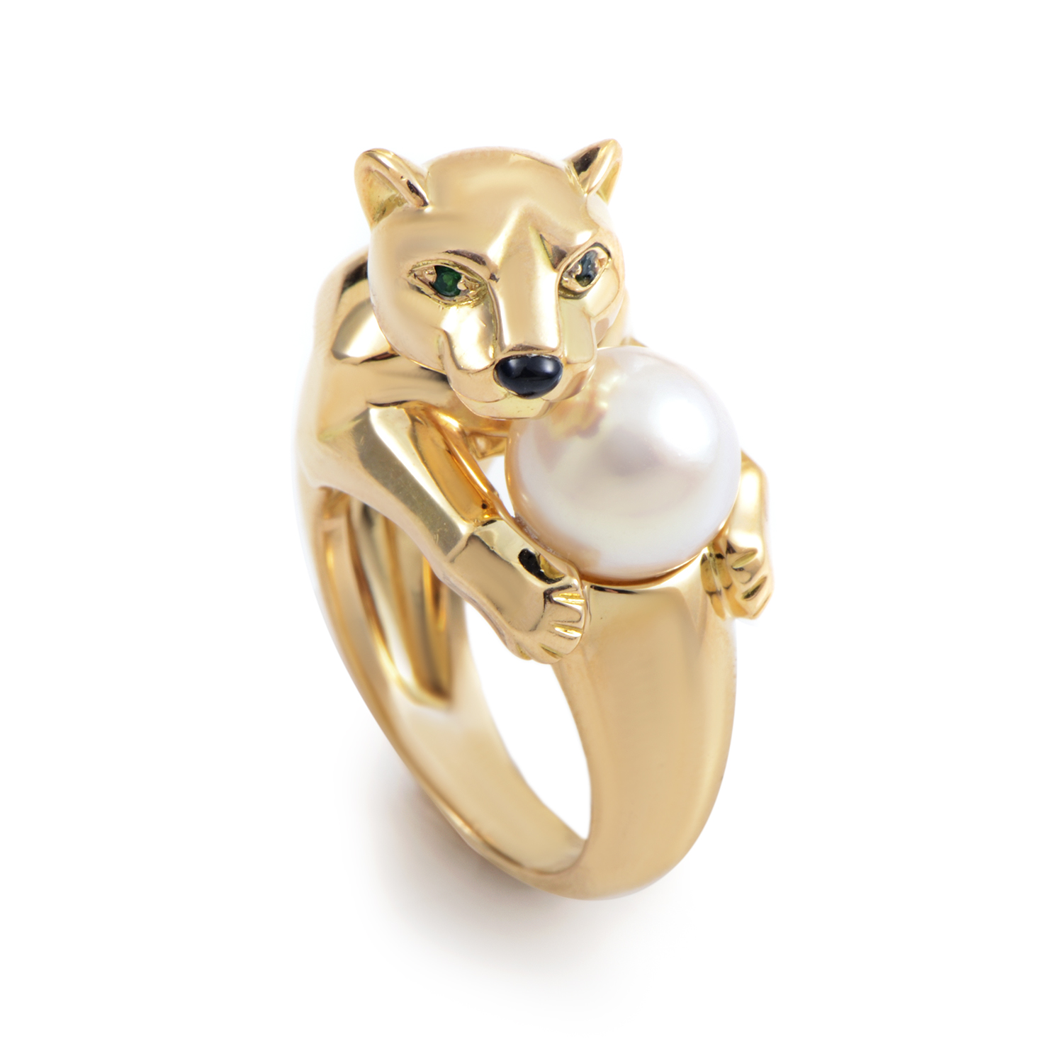 Cartier Panthere 18K Yellow Gold Pearl Ring