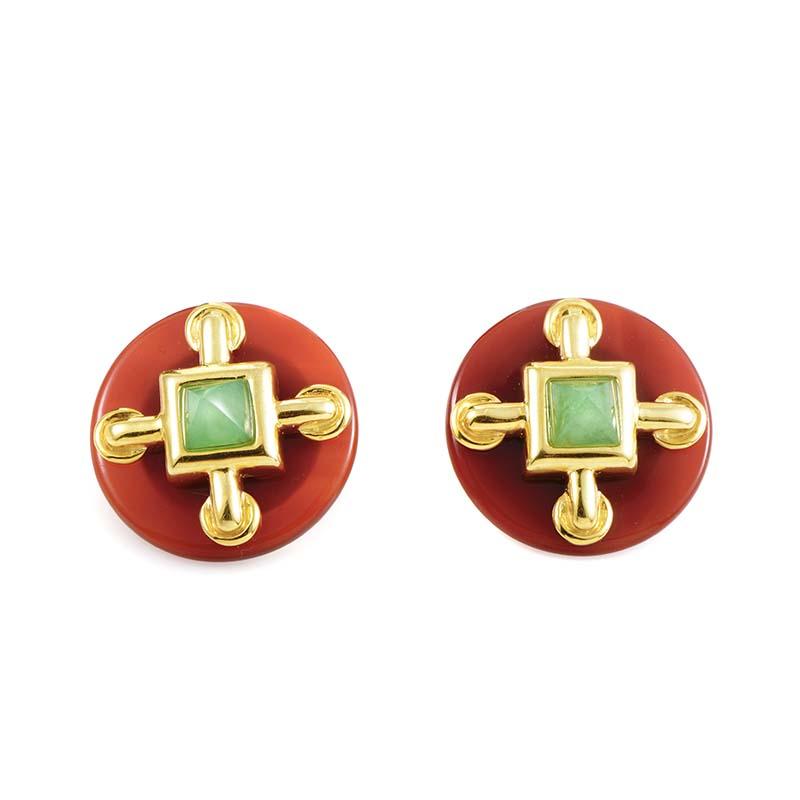 Cartier Aldo Cipullo 18K Yellow Gold Carnelian & Jade Clip-On Earrings