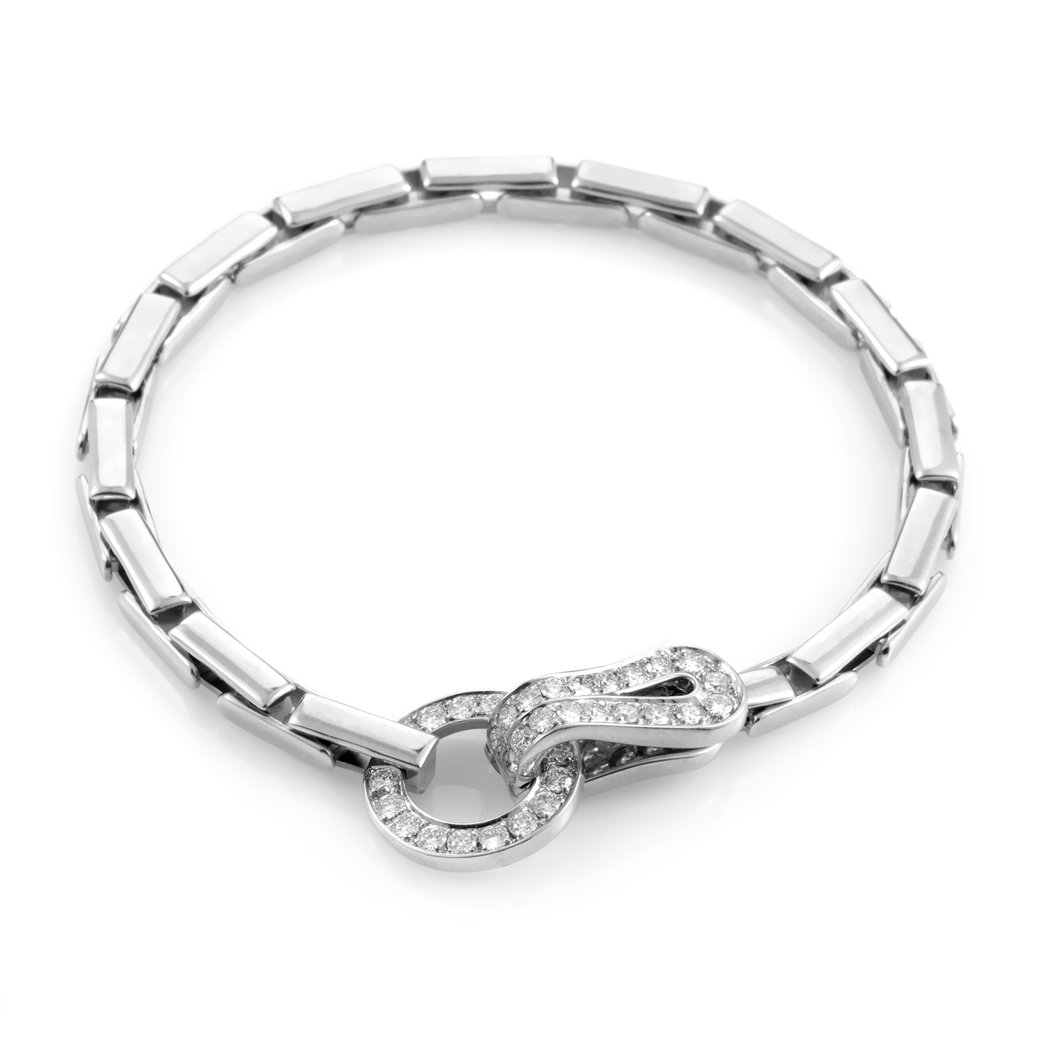 Cartier Agrafe 18K White Gold Diamond Hook Bracelet