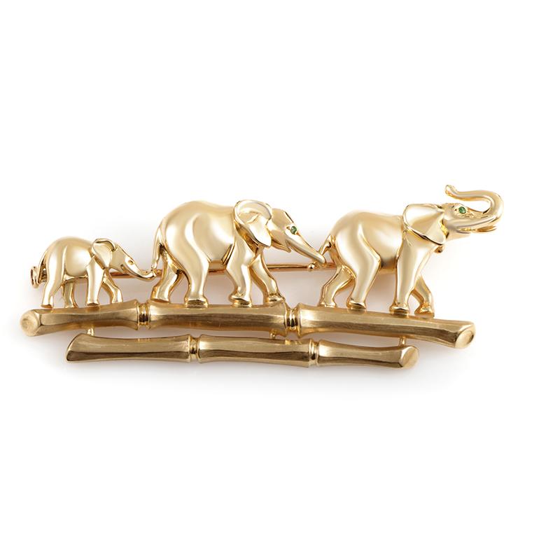 Cartier 18K Yellow Gold Emerald Elephant Family Brooch