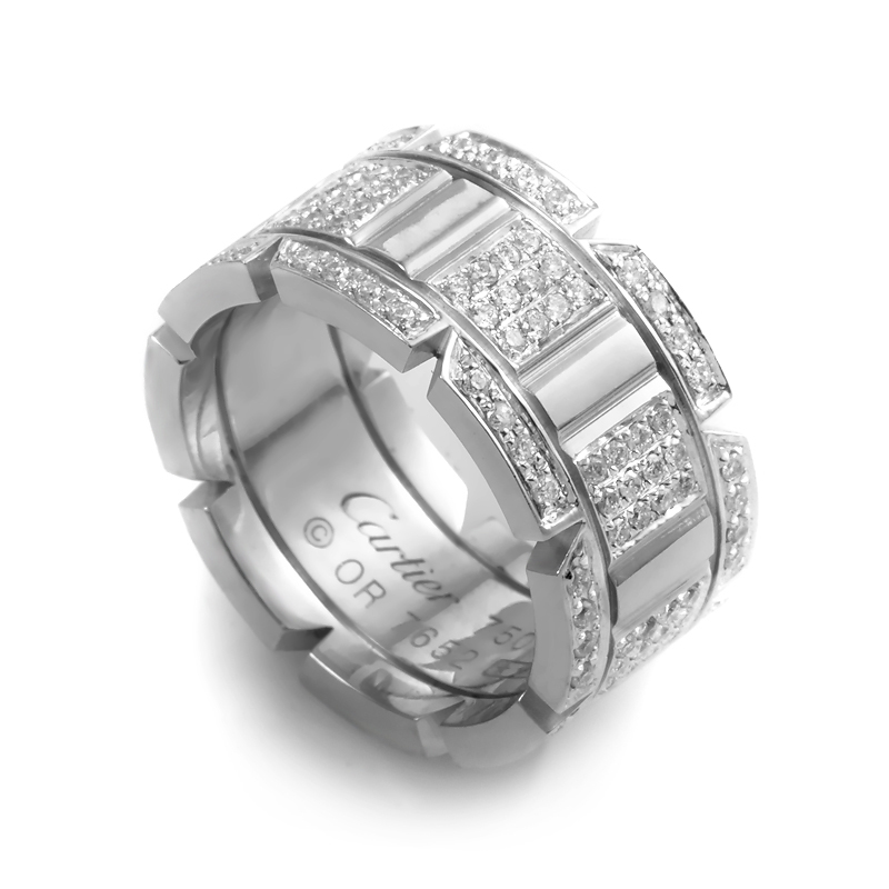 Cartier Tank Francaise 18K White Gold Diamond Pave Ring
