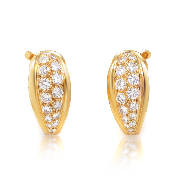 Cartier 18K Yellow Gold Diamond Huggie Earrings