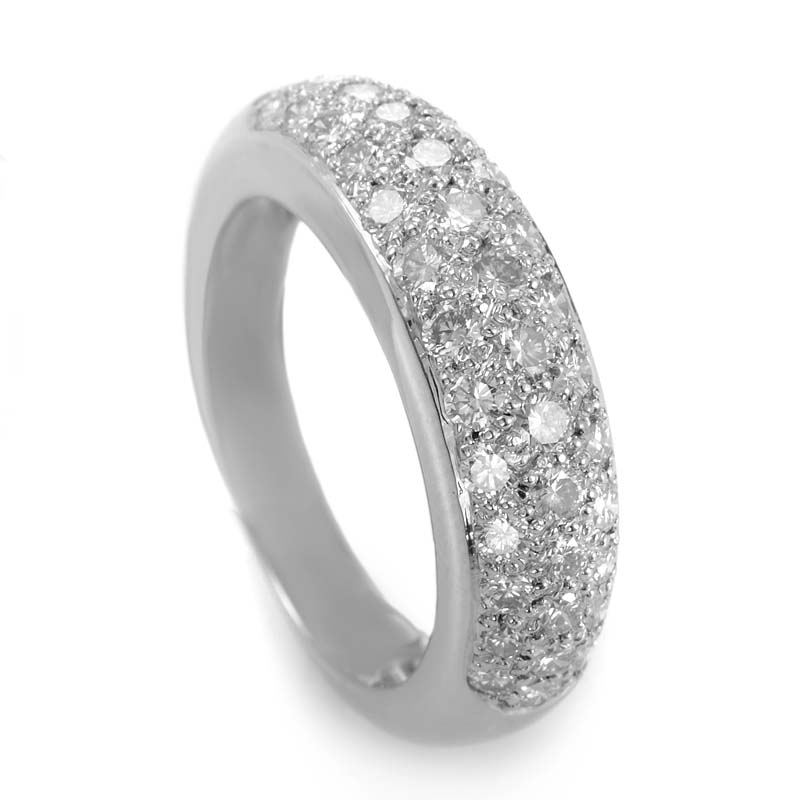 Cartier Mimi Platinum Partial Pave Band Ring