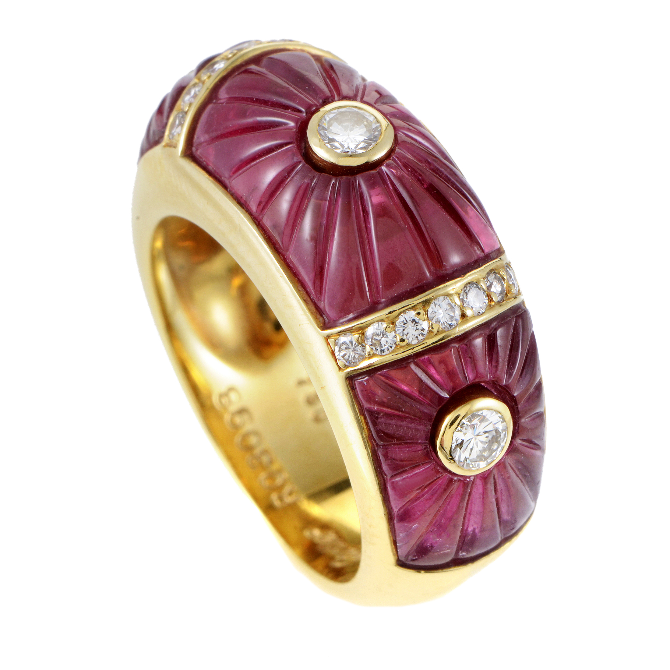 Cartier Women's 18K Yellow Gold Diamond & Pink Tourmaline Band Ring