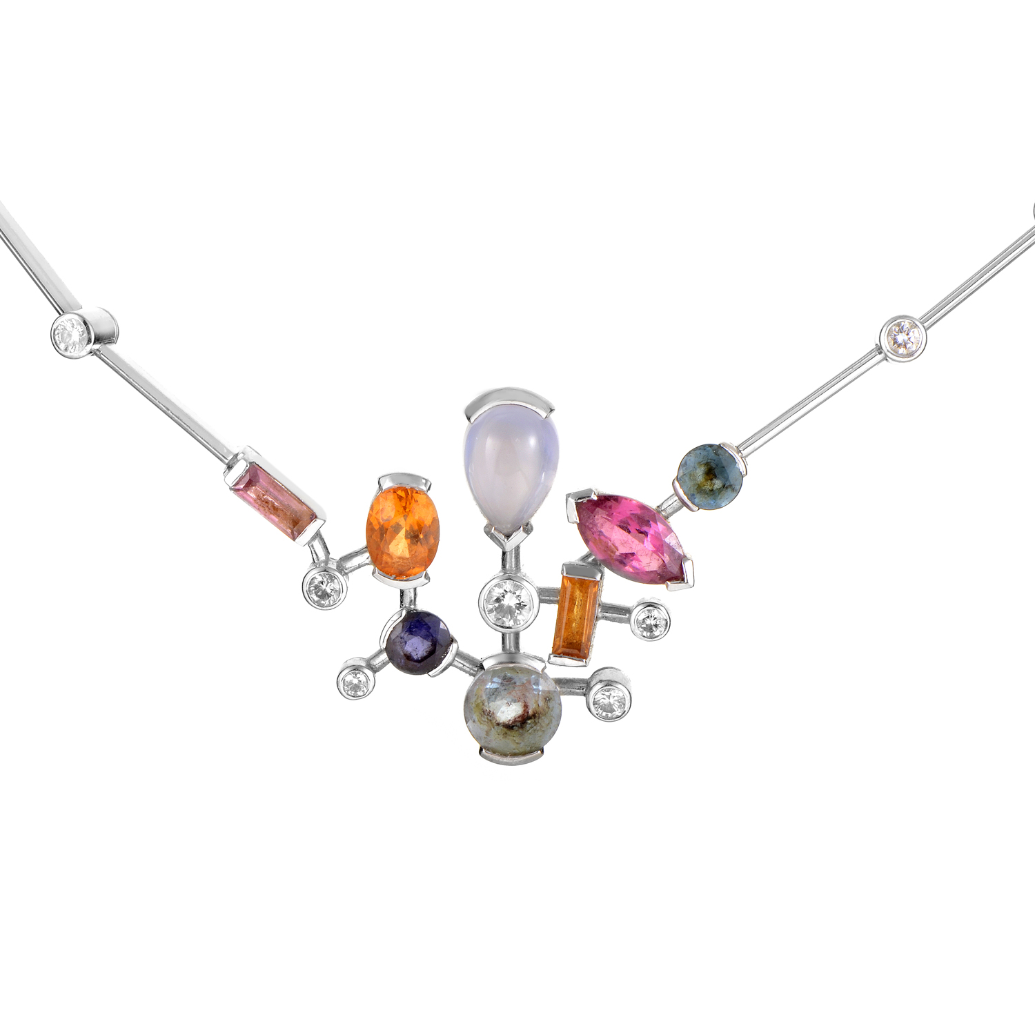 Cartier Meli Melo Women's 18K White Gold Multi-Gemstone Necklace