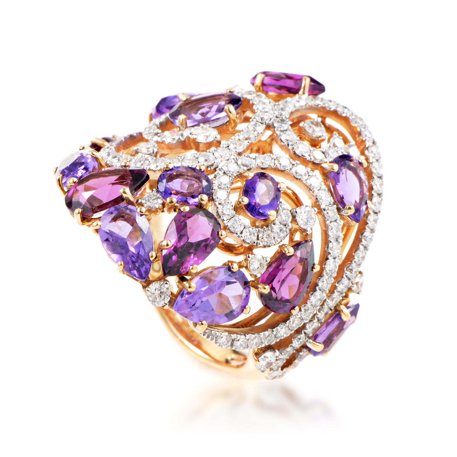 Womens 18K Rose Gold Diamond Tourmaline and Amethyst Ring