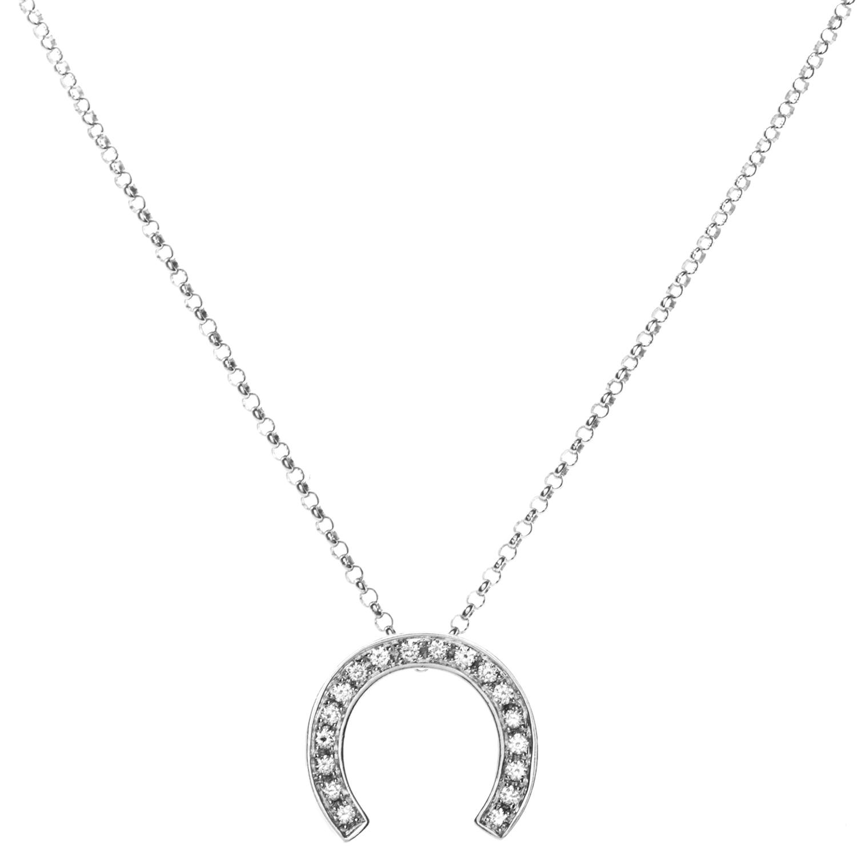 Céline Women's 18K White Gold Diamond Horseshoe Pendant Necklace