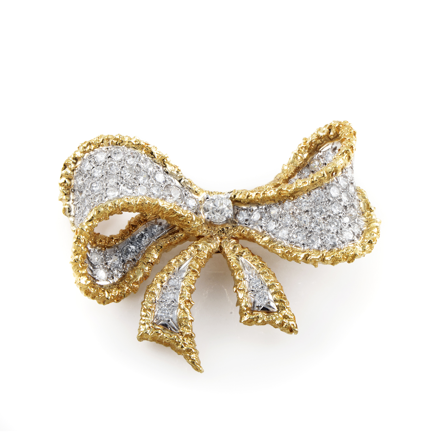 Cellino Women's Vintage 18K Yellow Gold & Platinum Diamond Bow Brooch