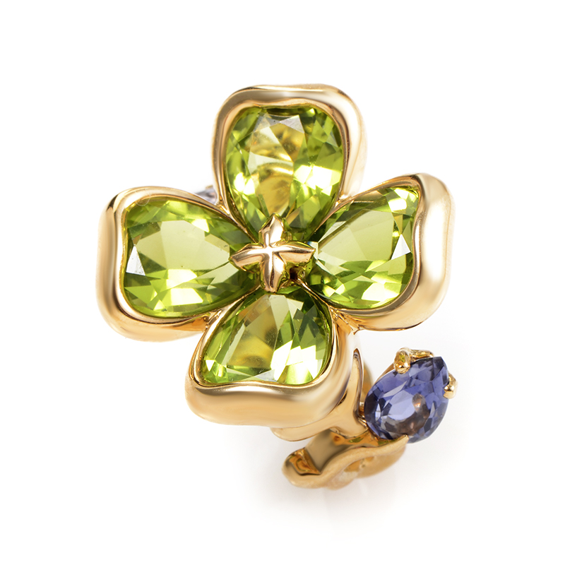 Chanel 18K Yellow Gold Iolite & Peridot Flower Ring