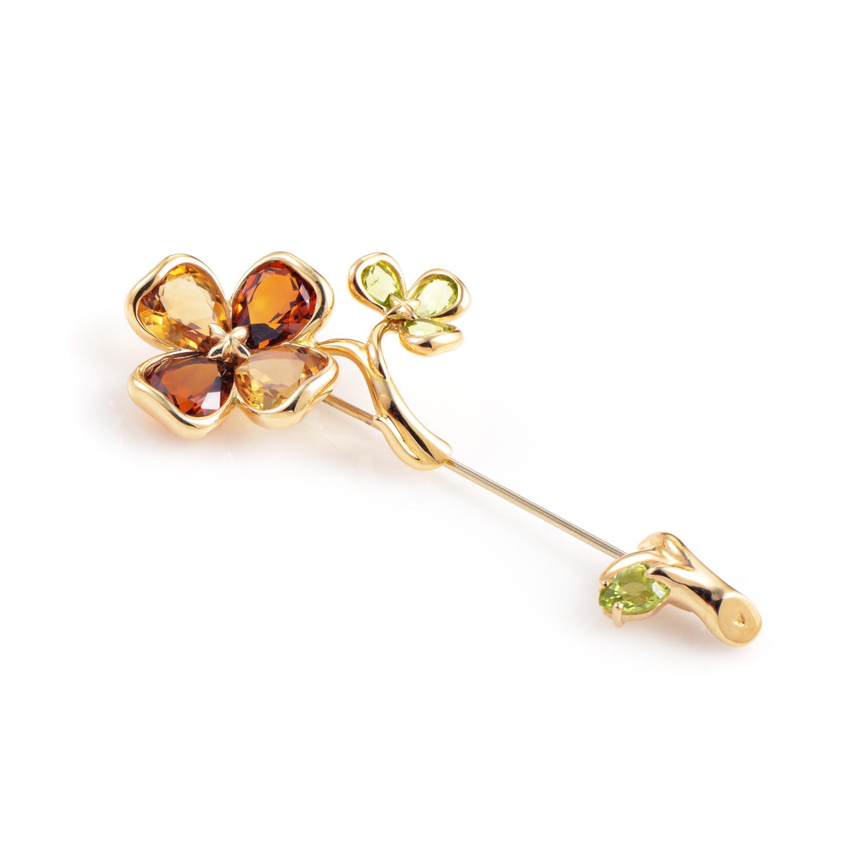 Chanel Women's 18K Yellow Gold Floral Gemstone Pin