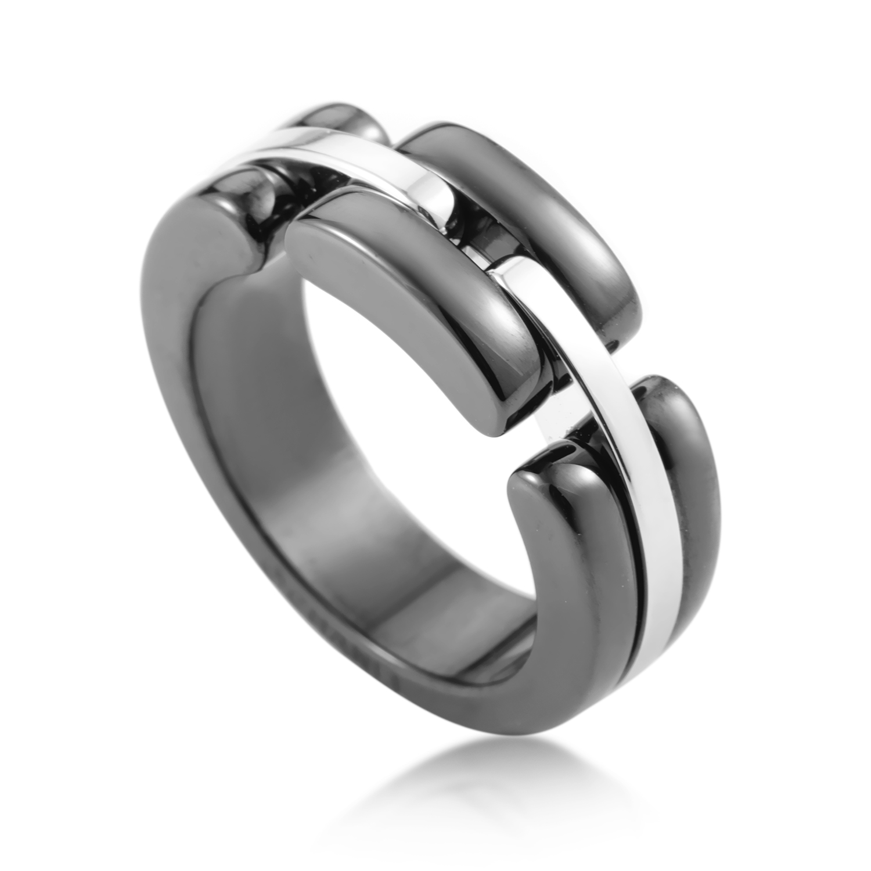 Chanel Ultra 18K White Gold Ceramic Band Ring