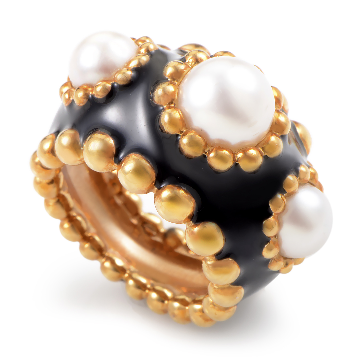 Chanel Baroque Womens Enameled 18K Yellow Gold Pearl Band Ring