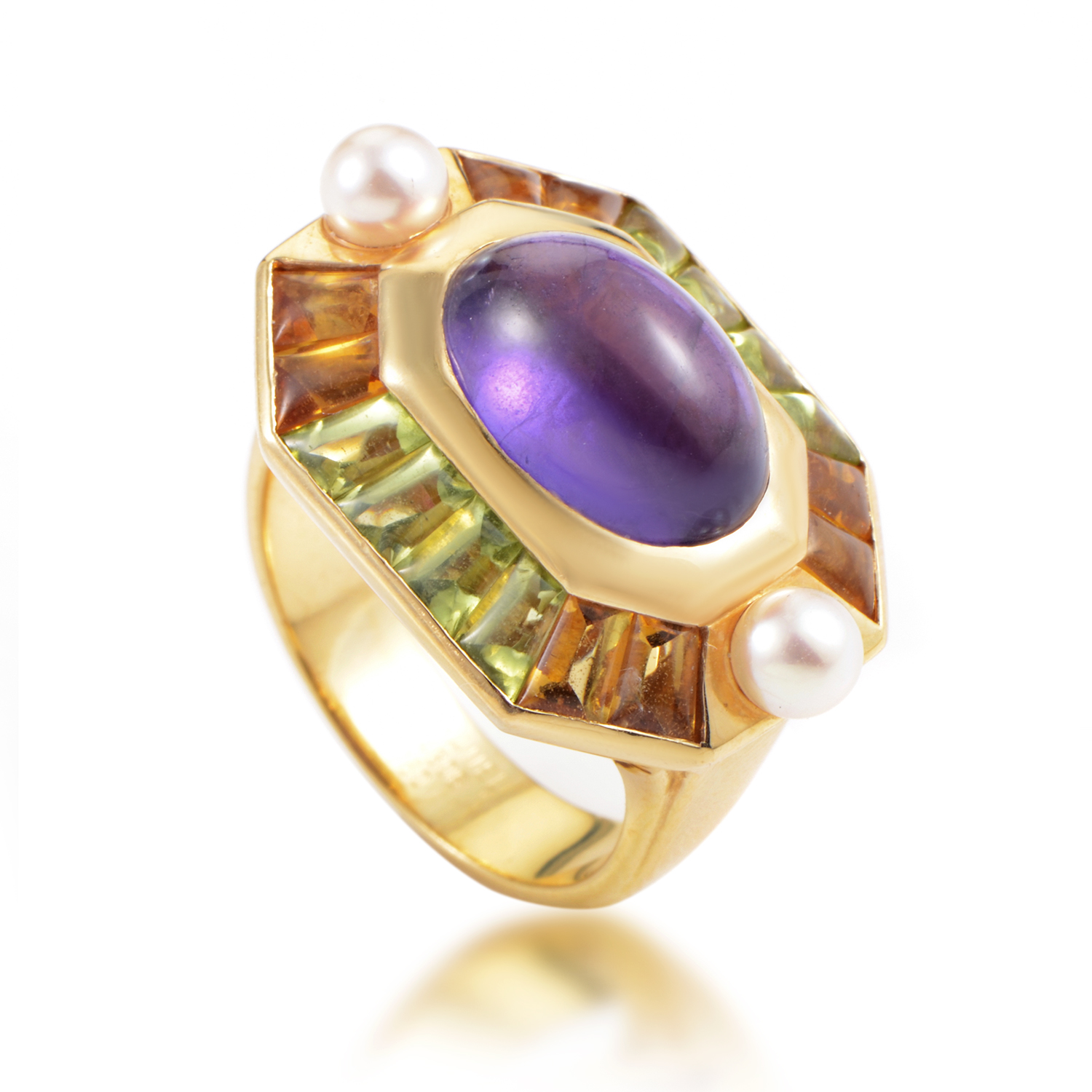 Chanel Baroque Women's 18K Yellow Gold Multi-Gemstone Ring