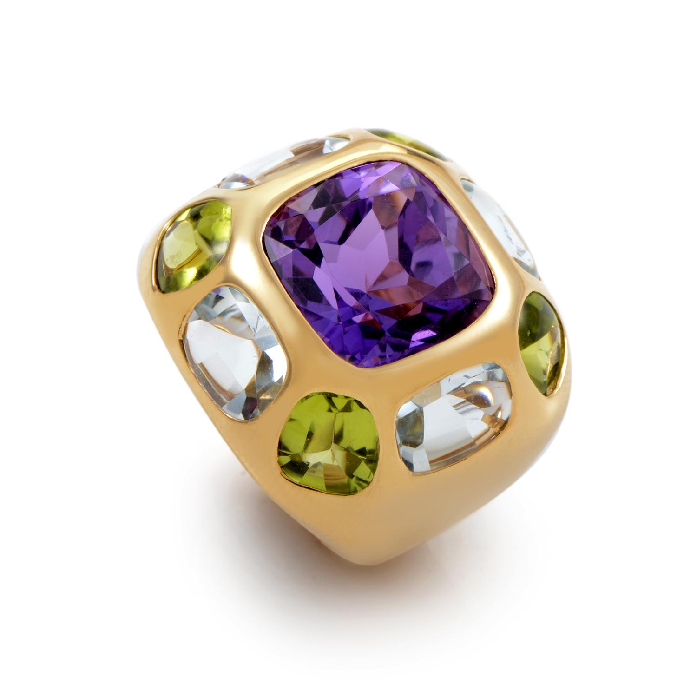 estate chanel baroque 18k yellow gold gemstone ring